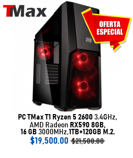 PC TMax T1 Ryzen 5 2600 3.4GHz + AMD Radeon RX590 8G + 16GB 3000MHz + 1TB + 120GB M.2.