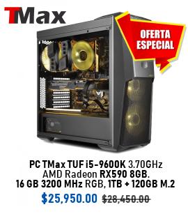 PC TMax TUF i5-9600K 3.70GHz + AMD Radeon RX590 8G + 16GB 3200MHz RGB + 1TB + 120GB M.2.